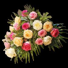 Bårebuket bundet med roser i forskellige farver
